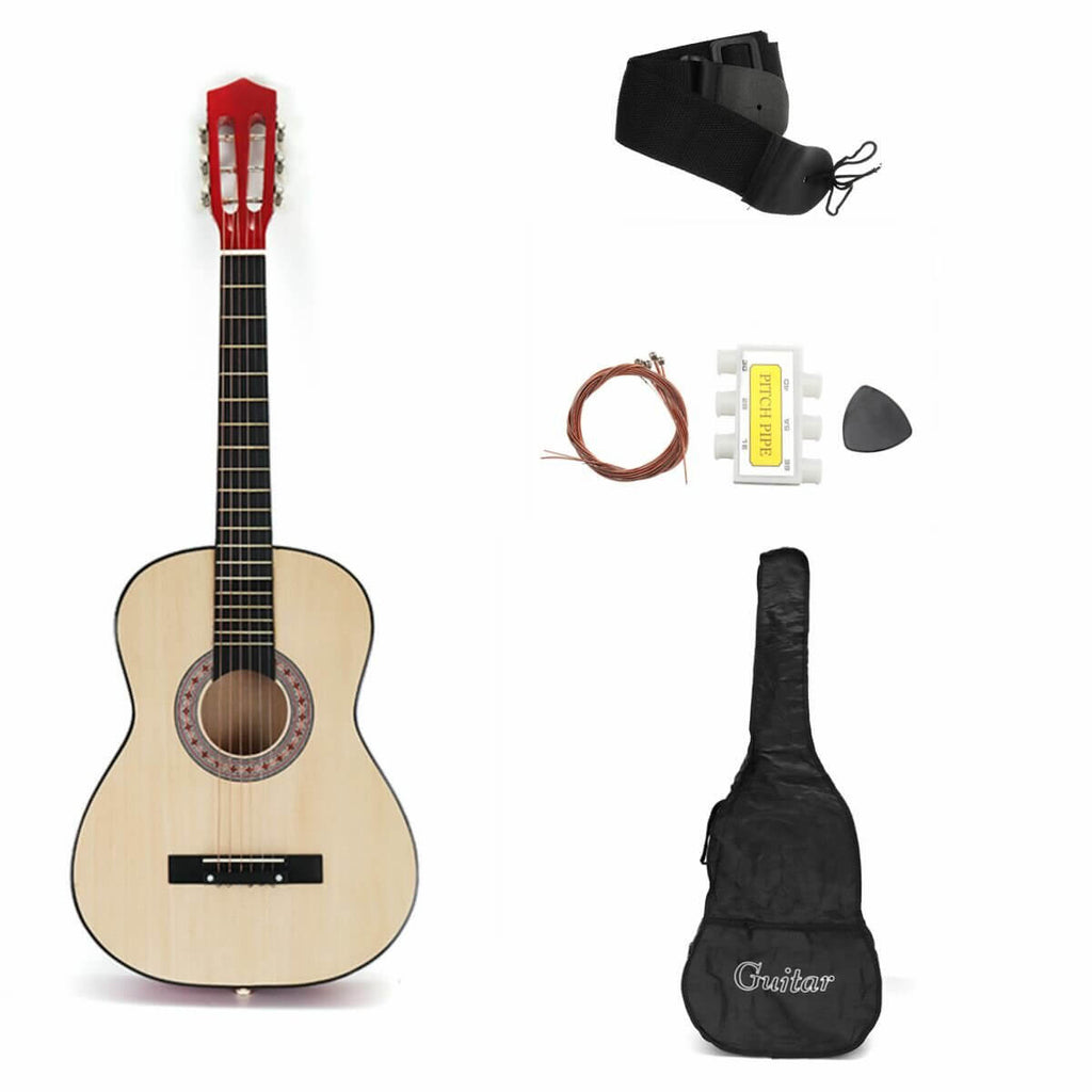 Wood AcousticBoy™ Guitar for Beginner with Case, Strap, Tuner, Pick, Strings