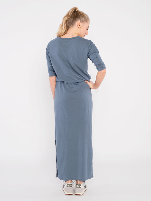 Women Dress Blue with waistband (long) - ERDBÄR #Worldchanger