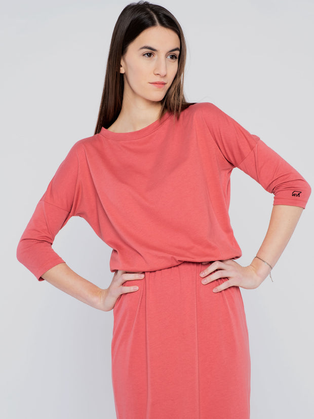 Women Dress Red with waistband (long) - ERDBÄR #Worldchanger