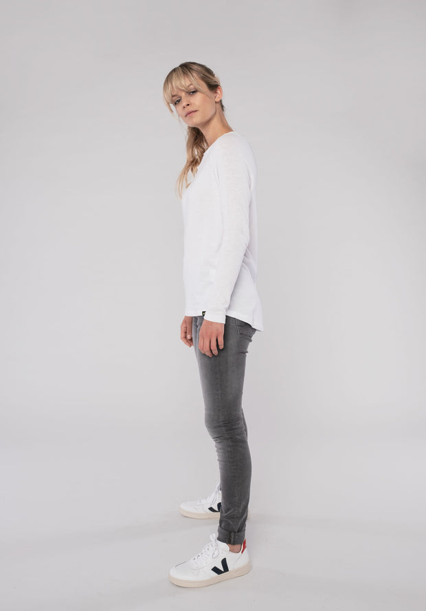 Women Longsleeve (cotton) white and black - ERDBÄR #Worldchanger