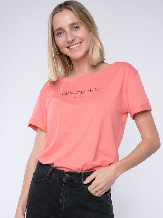 Women loose T-Shirt STAND FOR VALUES (peach)