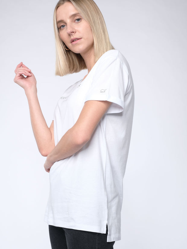 Women loose T-Shirt STAND FOR VALUES (white)