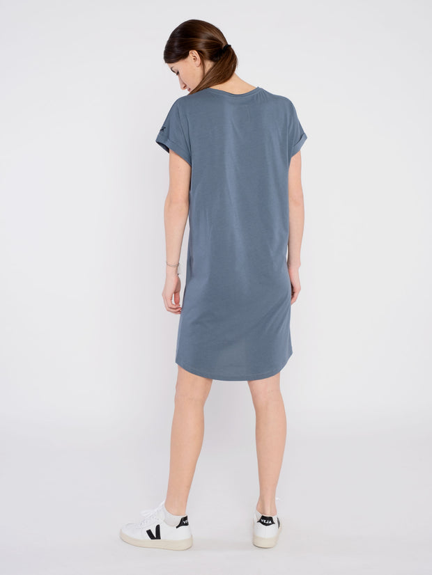 Women Dress blue (short sleeves) - ERDBÄR #Worldchanger