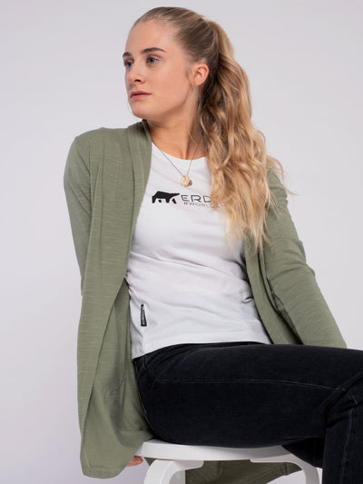 Women Cardigan (organic cotton) green - ERDBÄR #Worldchanger