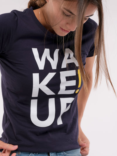 Women T-Shirt (blue) - WAKE UP!