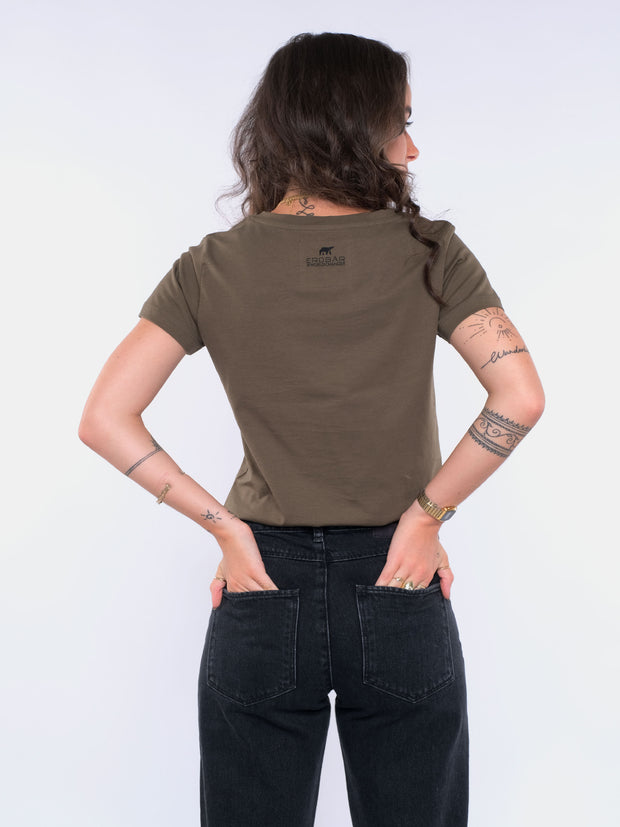 Women T-Shirt (olive) - No Change No Snow