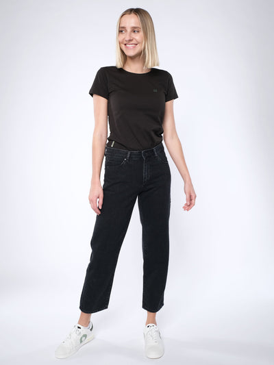 Damen slim-fit T-Shirt LOGOBÄR (schwarz)