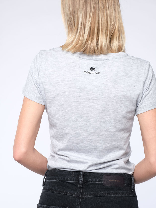 WITH THIS STYLE YOU SUPPORT! - animal revolution 08 / slim-fit Damen T-Shirt (grau)