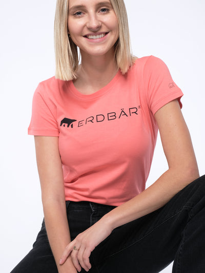 Women slim-fit T-Shirt ERDBÄR LOGO (peach)