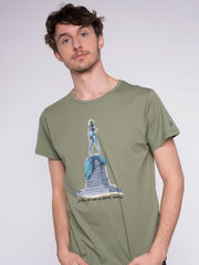 Men T-Shirt green w/ Statue of Liberty Print - ERDBÄR #Worldchanger