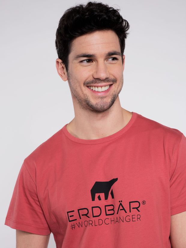 Men T-Shirt Red w/ ERDBÄR Logo - ERDBÄR #Worldchanger