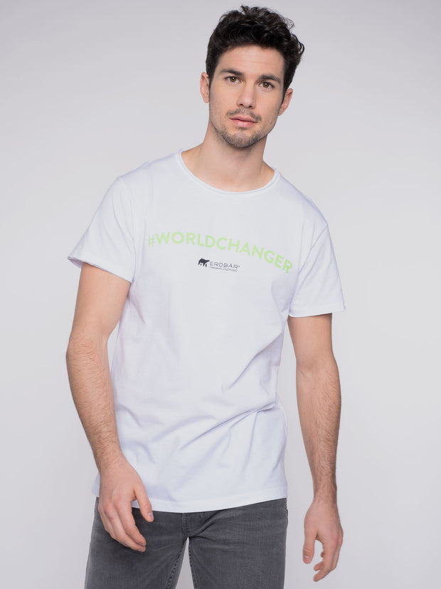 Men T-Shirt white organic cotton ERDBÄR #Worldchanger Print - ERDBÄR #Worldchanger