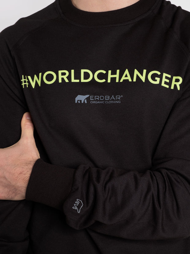 Men Sweater Black Erdbär Worldchanger Print - ERDBÄR #Worldchanger