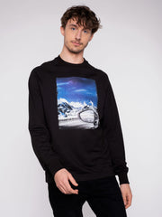 Men Sweater Black Erdbär Mountain view - ERDBÄR #Worldchanger