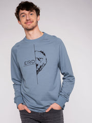 Men Sweater Blue Erdbär Print - ERDBÄR #Worldchanger