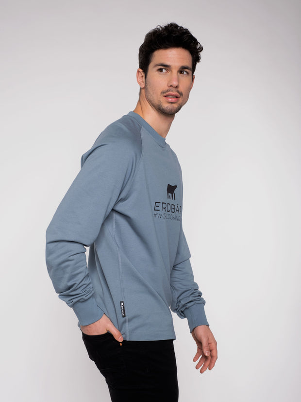 Men Sweater Blue Erdbär Worldchanger Print - ERDBÄR #Worldchanger