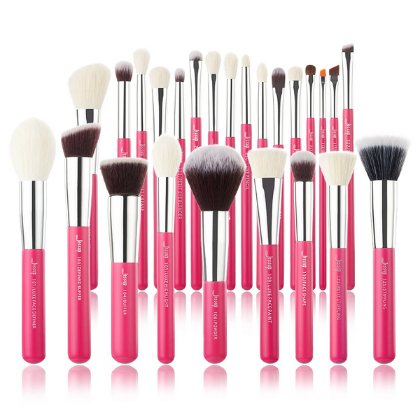 Jessup Professional Makeup Brushes Set  Rose-carmine/Silver INDIVIDUAL 25Pcs T195