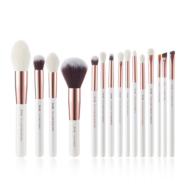 Jessup Professional Makeup Brushes Set Pearl White/Rose Gold INDIVIDUAL 15Pcs T222