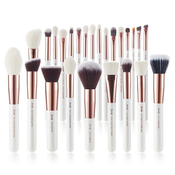 Jessup Professional Makeup Brushes Set  Pearl White/Rose Gold INDIVIDUAL 25Pcs T215