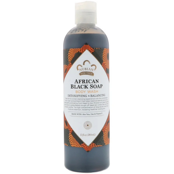 Nubian Heritage, Body Wash, African Black Soap, 13 fl oz (384 ml)