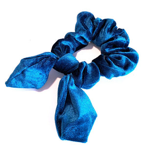 Velvet Scrunchie with Tails - Teal