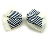 Large White & Stripy Hair Bow Clip