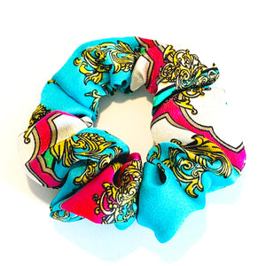 Abstract Print Satin Scrunchie - Light Blue
