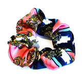Abstract Print Satin Scrunchie - Pink