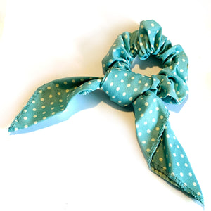 Polka Dot Scrunchie - Aqua