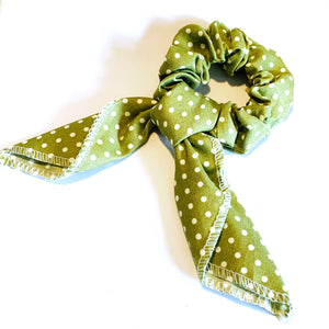Polka Dot Scrunchie - Olive