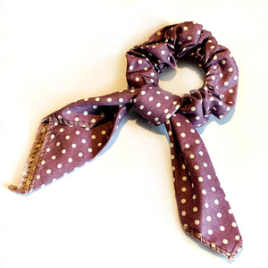 Polka Dot Scrunchie - Brown
