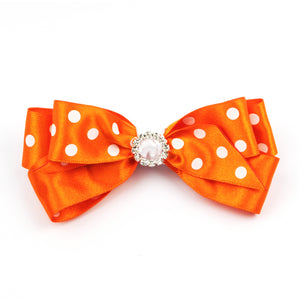 Sophia Polka Dot Hair Clip - Orange