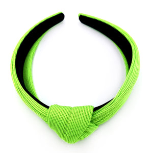 Neon Glitter Knotted Alice Band - Green