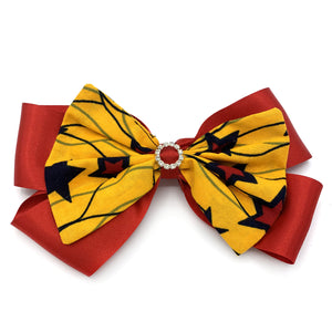 Large Ankara Hair Bow Clip - Yellow & Red