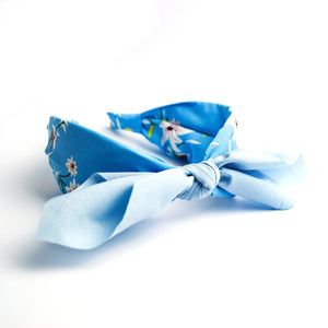 Knotted Floral Alice Band- Blue