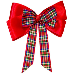 Large Knotted Red Tartan Hair Bow Clip