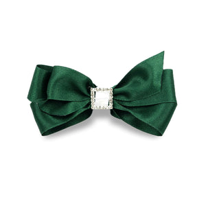 Priscilla Satin Hair Bow - Hunter Green