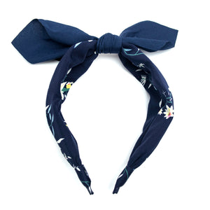 Knotted Floral Alice Band - Navy