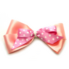 Large Annabel Stacked Polka Dot Hair Bow - Pink & Peach