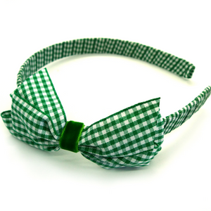 Gingham Alice band - Green