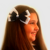 Large Navy & White Hair Bow Clip