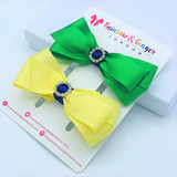Yellow & Green ColourPop Hair Bow Clips - 2 pack
