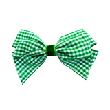 Small Gingham Hair Clip - Green