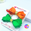 Orange & Green ColourPop Hair Bow Clips - 2 pack