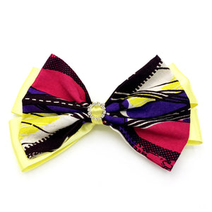 Large Ankara Hair Bow Clip - Yellow & Pink
