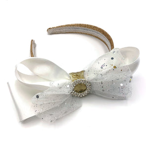 Large White & Gold Sparkly Alice band