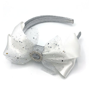 Large White & Silver Sparkly Alice band
