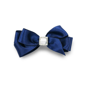 Priscilla Satin Hair Bow - Navy