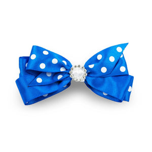 Super-cute and beautifully handmade, this Polka Dot Hair Bow will add style and panache to any outfit. A sure favourite with the little darlings.  Rhinestone embellishment Uncovered alligator clip Securely holds all hair types Medium size - 11cm approx. Made by hand in London.
