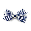 Imara Stripes Hair Bow Clip - Navy